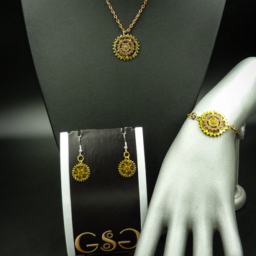 Special set of necklace, bracelet and earrings in a Steampunk style by Gwendolyne's Steampunk Gems