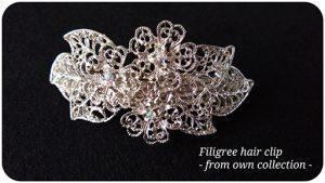 Silver Filigree Hair Clip